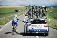 escape leaders/teammates Tony Martin (DEU/Etixx-Quickstep) & Julian Alaphilippe (FRA/Etixx-QuickStep) getting supplied  with energy/food by the teamcar in their +170km endeavor<br /> <br /> st16: Morain-en-Montagne to Bern (SUI) / 209km<br /> 103rd Tour de France 2016