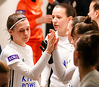 20.02.2020 OUD-HEVERLEE: OHL's Annaelle Wiard (left) is giving a hand shake to players in the tunnel before the  Belgian's Women's Super League match between Oud-Heverlee Leuven vs KRC Gent Ladies on Friday 20th February 2020, Stadion Oud-Heverlee, Oud-Heverlee, BELGIUM. PHOTO: SEVIL OKTEM