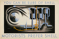 BNPS.co.uk (01202 558833)<br /> Pic: Lyon&Turnbull/BNPS<br /> <br /> Pictured: A poster from 1935 'Motorists prefer Shell'  <br /> <br /> A vast collection of vintage Shell posters have sold at auction for almost £60,000.<br /> <br /> The group of 49 sheets were sold directly from the oil giant's archives and featured some incredibly rare designs from down the years.<br /> <br /> All of the posters had previously been used in Shell advertising campaigns, dating back to between the 1920s and 1950s.<br /> <br /> Many of the colourful designed featured the slogan 'You can be sure of Shell' and list people who preferred their fuel.