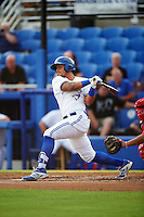 Dunedin Blue Jays second baseman Christian Lopes (11) at bat during a game against the Palm Beach Cardinals on April 15, 2016 at Florida Auto Exchange Stadium in Dunedin, Florida.  Dunedin defeated Palm Beach 8-7 in ten innings.  (Mike Janes/Four Seam Images)