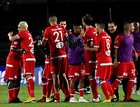 BOGOTÁ - COLOMBIA, 14-01-2019: Jugadores de América de Cali, celebran la victoria sobre Atlético Nacional, durante partido entre América de Cali y Atlético Nacional, por el Torneo Fox Sports 2019, jugado en el estadio Nemesio Camacho El Campin de la ciudad de Bogotá.  / The players of America de Cali, celebrate the victory over Atletico Nacional, during a match between America de Cali and Atletico Nacional, for the Fox Sports Tournament 2019, played at the Nemesio Camacho El Campin stadium in the city of Bogota. Photo: VizzorImage / Luis Ramírez / Staff.