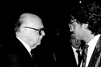 Montreal Mayor Jean Drapeau (L) and Gilbert Rozon (R) attend the Rene Levesque tribute at Montreal's convention centre, October 2nd,1985.<br /> File Photo : Agence Quebec Presse - Pierre Roussel