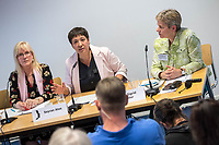 """Pressekonferenz der Menschenrechtsorganisation """"Terre des Femmes"""" am Donnerstag den 23. August 2018 in Berlin, anlaesslich ihrer Petition """"Den Kopf frei haben!"""", die sich fuer ein Verbot des sogenannten """"Kinderkopftuch"""" fuer Maedchen unter 18 Jahren einsetzt. Fuer Terre des Femmes ist das Kinderkopftuch der Missbrauch von Kindern fuer eine Religion und eine Kinderrechtsverletzung.<br /> Ziel der Unterschriftensammlung fuer die Petition sind 100.000 Unterschriften.<br /> Im Bild vlnr.: Prof. Dr. Susanne Schroeter, Direktorin des Frankfurter Forschungszentrum Globaler Islam; Seyran Ates, Rechtsanwaeltin und Imamin an der liberalen Ibn-Rushd-Goethe-Moschee in Berlin und Dr. Sigrid Peter, Vizepraesidentin des Bundesverbands des Kinder- und Jugendaerzte.<br /> 23.8.2018, Berlin<br /> Copyright: Christian-Ditsch.de<br /> [Inhaltsveraendernde Manipulation des Fotos nur nach ausdruecklicher Genehmigung des Fotografen. Vereinbarungen ueber Abtretung von Persoenlichkeitsrechten/Model Release der abgebildeten Person/Personen liegen nicht vor. NO MODEL RELEASE! Nur fuer Redaktionelle Zwecke. Don't publish without copyright Christian-Ditsch.de, Veroeffentlichung nur mit Fotografennennung, sowie gegen Honorar, MwSt. und Beleg. Konto: I N G - D i B a, IBAN DE58500105175400192269, BIC INGDDEFFXXX, Kontakt: post@christian-ditsch.de<br /> Bei der Bearbeitung der Dateiinformationen darf die Urheberkennzeichnung in den EXIF- und  IPTC-Daten nicht entfernt werden, diese sind in digitalen Medien nach §95c UrhG rechtlich geschuetzt. Der Urhebervermerk wird gemaess §13 UrhG verlangt.]"""