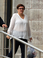 Pictured: Samantha Murray Evans, arrives at Swansea Crown Court. Friday 13 October 2017<br /> Re: A cop who won bravery awards had his career ruined when a woman he met through a dating website falsely claimed he had raped her.<br /> PC Paul Morgan, 52, suffered the indignity of being arrested by his own colleagues and held in a cell overnight after the allegation by Samantha Murray-Evans, 45, a woman he met through the Plenty of Fish website.<br /> Lengthy investigations followed adding to the PC's stress until it was eventually decided that Murray-Evans, who told PC Morgan she was a college lecturer and actress, had been lying.<br /> She is pleading guilty to perverting the course of justice when she appears at Swansea Crown Court this Friday. (October 13th).<br /> PC Morgan, a cop for 21 years, has been off sick for a year following the allegation and is of the belief that Murray-Evans lies were clear from the outset and he should have been believed rather than her.