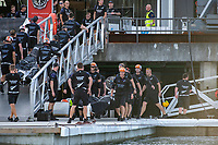 15th March 2021; Waitemata Harbour, Auckland, New Zealand;  Smiling faces at Emirates Team New Zealand base after the team win both races seven and eight on day five of the America's Cup presented by Prada