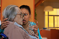 Pio Albergo Trivulzio is the biggest nursing home facility in Italy and the OLDEST.  www.pioalbergotrivulzio.it.P.A.T. also runs a day hospital for folks that want to stay in their own homes.  Physical therapy rooms are available to both kinds of patients.  Some families hire workers from the Philippines or DR to take care of their elderly family members in the facility.  Woman from Santo Domingo in the DR is hired to take care of an Italian woman in the facility.  The woman from DR is Yanil Suardi and the Italian woman is Zeffirina Catanio.