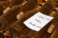 Bottles aging in the cellar. Vin de Table, table wine. Domaine Pascal Jolivet, Sancerre, Loire, France