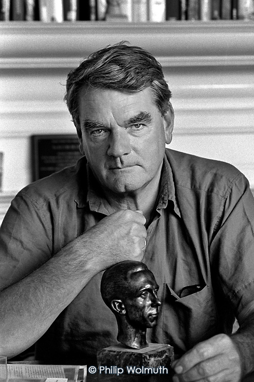 David Irving, revisionist historian, with a bust of Goebbels in the Belgravia flat he was forced to sell following the failure of his libel action against Deborah Lipstadt.