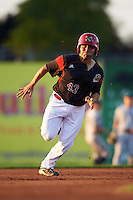 Batavia Muckdogs first baseman Eric Gutierrez (43) running the bases during a game against the Staten Island Yankees on August 26, 2016 at Dwyer Stadium in Batavia, New York.  Staten Island defeated Batavia 6-2. (Mike Janes/Four Seam Images)