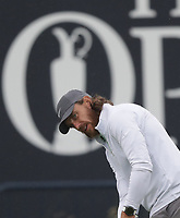 12th July 2021; The Royal St. George's Golf Club, Sandwich, Kent, England; The 149th Open Golf Championship, practice day; Tommy Fleetwood (ENG) putts from off the green on the 18th hole