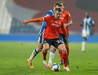 7th November 2020 The John Smiths Stadium, Huddersfield, Yorkshire, England; English Football League Championship Football, Huddersfield Town versus Luton Town; James Bree of Luton Town  shields the ball from Harry Toffolo of Huddersfield Town