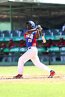 Juan De Leon participates in the 2014 MLB International Showcase at Estadio Tetelo Vargas on January 22-23, 2014 in San Pedro de Macoris, Dominican Republic (Bill Mitchell)