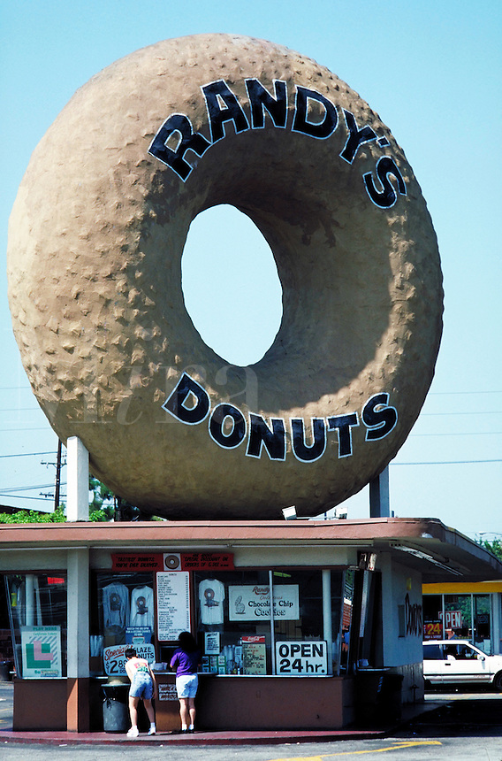 Unusual architectural detail, giant donut sculpture. Los Angeles California United States North America.