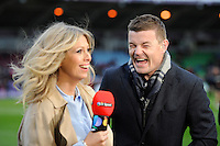 BT Sport Presenters, Brian O'Driscoll and Sarra Elgan, share a joke