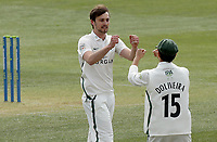 Ed Barnard of Worcestershire celebrates taking the wicket of Nick Browne during Essex CCC vs Worcestershire CCC, LV Insurance County Championship Group 1 Cricket at The Cloudfm County Ground on 8th April 2021