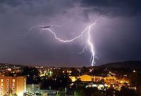 Lightning over downtown Charlottesville, Va. Photo/Andrew Shurtleff