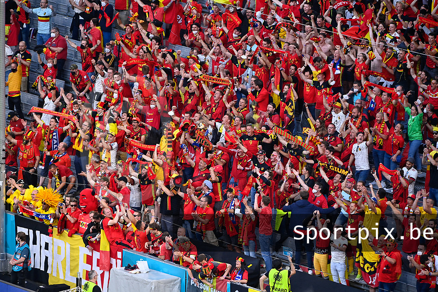 Belgian fans and supporters pictured during a soccer game during the quarter final Euro 2020 European Championship between the Belgian national soccer team Red Devils and Italy , called the Azzurri , on friday 2 nd of July 2021  in the Allianz Arena in Munchen , Germany . PHOTO SPORTPIX | SPP | DAVID CATRY