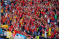 Belgian fans and supporters pictured during a soccer game during the quarter final Euro 2020 European Championship between the Belgian national soccer team Red Devils and Italy , called the Azzurri , on friday 2 nd of July 2021  in the Allianz Arena in Munchen , Germany . PHOTO SPORTPIX   SPP   DAVID CATRY