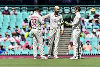 9th January 2021; Sydney Cricket Ground, Sydney, New South Wales, Australia; International Test Cricket, Third Test Day Three, Australia versus India; Nathan Lyon chats with Tim Paine of Australia