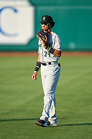 Dayton Dragons outfielder Allan Cerda (24) during warmups before a game against the Fort Wayne TinCaps on August 25, 2021 at Parkview Field in Fort Wayne, Indiana.  (Mike Janes/Four Seam Images)