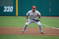 Scott Schreiber (11) of the Nebraska Cornhuskers in the field at first base during a game against the Long Beach State Dirtbags in the second game of a doubleheader at Blair Field on March 5, 2016 in Long Beach, California. Long Beach State defeated Nebraska, 3-1. (Larry Goren/Four Seam Images)