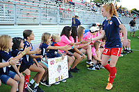 Boyds, MD - Saturday September 23, 2017: Washington Spirit fans, Tori Huster prior to a regular season National Women's Soccer League (NWSL) match between the Washington Spirit and the Boston Breakers at Maureen Hendricks Field, Maryland SoccerPlex.
