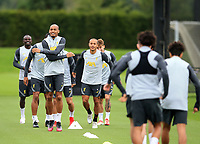 14th September 2021: The  AXA Training Centre , Kirkby, Knowsley, Merseyside, England: Liverpool FC training ahead of Champions League game versus AC Milan on 15th September: Fabinho of Liverpool warming up with his team mates
