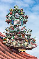 George Town, Penang, Malaysia. Taoist Roof Decoration,  Goddess of Mercy Temple, Kuan Yin Teng, Kong Hock Keong.