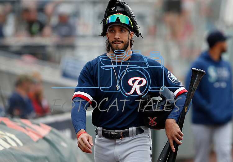 Tacoma Rainiers' Dillon Thomas prepares for a game against the Reno Aces, in Reno, Nev., on Friday, May 28, 2021. <br /> Photo by Cathleen Allison