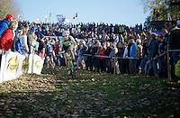 Sophie de Boer (NLD) descending the slippery twisty Koppenberg<br /> <br /> Koppenbergcross 2014