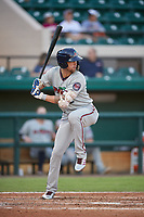 Fort Myers Miracle center fielder Aaron Whitefield (2) at bat during a game against the Lakeland Flying Tigers on August 7, 2018 at Publix Field at Joker Marchant Stadium in Lakeland, Florida.  Fort Myers defeated Lakeland 5-0.  (Mike Janes/Four Seam Images)