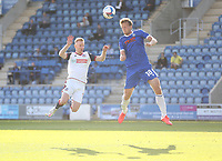 Colchester United's Tom Eastman beats Bolton Wanderers' Eoin Doyle to the ball<br /> <br /> Photographer Rob Newell/CameraSport<br /> <br /> The EFL Sky Bet League Two - Colchester United v Bolton Wanderers - Saturday 19th September 2020 - Colchester Community Stadium - Colchester<br /> <br /> World Copyright © 2020 CameraSport. All rights reserved. 43 Linden Ave. Countesthorpe. Leicester. England. LE8 5PG - Tel: +44 (0) 116 277 4147 - admin@camerasport.com - www.camerasport.com