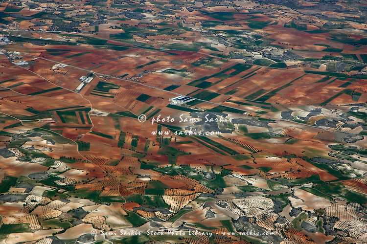 The vast Seville countryside seen from an airplane, Seville, Andalusia, Spain.
