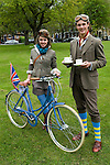 The Tweed Run London UK. Tea Stop. Interview with Sophie and Charles Hunt