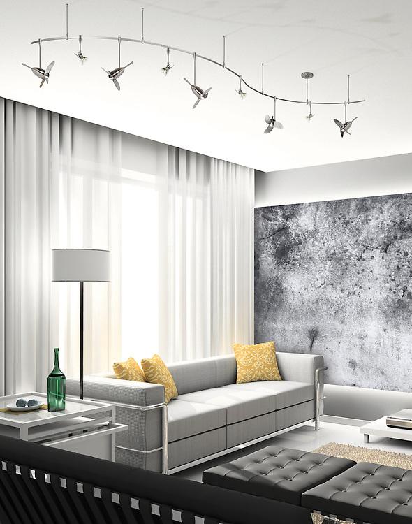 Iinterior of modern living-room. 3D render