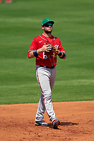 Washington Nationals third baseman Carter Kieboom (8) during a Major League Spring Training game against the New York Mets on March 18, 2021 at Clover Park in St. Lucie, Florida.  (Mike Janes/Four Seam Images)