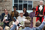 Merthyr Tydfil - UK - 26th April 2012 : The Queen and the Duke of Edinburgh watching a display during their visit to Cyfarthfa Castle museum and art gallery in Merthyr Tydfil this afternoon.  The Queen and Prince Philip are visiting towns and cities all over the United Kingdom to mark the Diamond Jubilee year.
