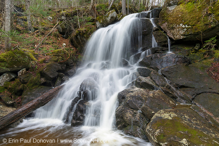 Holden Falls on a tributary of Coppermine Brook in Franconia, New Hampshire during the spring months. This waterfall was discovered by a gentleman named Mr. Holden, a boarder at the Brooks Farm in Franconia. His first name is unknown at this time.