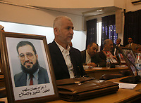"""Pictures of jailed Palestinian lawmakers are seen during a Hamas lawmakers' session of the Palestinian Legislative Council in Gaza November 21, 2007.""""photo by Fady adwan"""""""