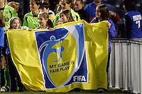 The FIFA Fair Play banner is paraded onto the field prior to the start of the match. Sky Blue FC and FC Gold Pride played to a 1-1 tie during a Women's Professional Soccer match at TD Bank Ballpark in Bridgewater, NJ, on April 11, 2009.