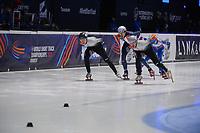 SPEEDSKATING: DORDRECHT: 07-03-2021, ISU World Short Track Speedskating Championships, Final A 1000m Men, Shaolin Sandor Liu (HUN), Shaoang Liu (HUN), Sebastien Lepape (FRA), ©photo Martin de Jong