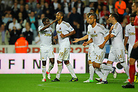 Pictured: Luke Moore of Swansea (C) celebrating his second goal with team mates Nathan Dyer (L) and Mark Gower (3rd L). Tuesday 28 August 2012<br /> Re: Capital One Cup game, Swansea City FC v Barnsley at the Liberty Stadium, south Wales.