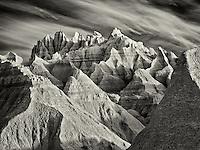 Eroded rock formations. Badlands National Park. South Dakota