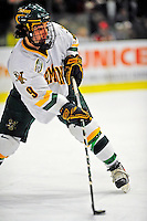 3 January 2009: University of Vermont Catamount forward Wahsontiio Stacey, a Sophomore from Kahnawake, Quebec, in action against the St. Lawrence Saints during the championship game of the Catamount Cup Ice Hockey Tournament at Gutterson Fieldhouse in Burlington, Vermont. The Cats defeated the Saints 4-0 and won the tournament for the second time since its inception in 2005...Mandatory Photo Credit: Ed Wolfstein Photo