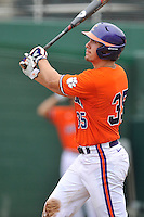 Senior outfielder Mike Triller (35) of the Clemson Tigers in a fall practice intra-squad Orange-Purple scrimmage on Sunday, September 27, 2015, at Doug Kingsmore Stadium in Clemson, South Carolina. (Tom Priddy/Four Seam Images)
