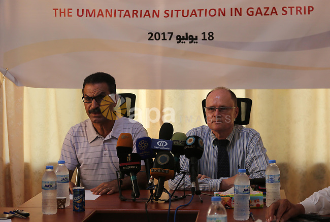 Dirctor of the United Nations for the peace process in the Middle, Gernot Sauer attends a workshop, in Gaza city, on July 18, 2017. Photo by Mohammed Asad