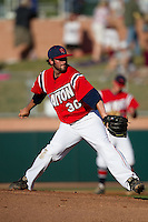 Starting pitcher Mike Hauschild #30 of the Dayton Flyers delivers during the NCAA Tournament Regional baseball game against the Texas A&M Aggies on June 1, 2012 at Blue Bell Park in College Station, Texas. Texas A&M defeated Dayton 4-1. (Andrew Woolley/Four Seam Images).
