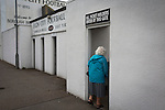 Elgin City 3 Edinburgh City 0, 13/08/2016. Borough Briggs, Scottish League Two. A home supporter arriving at Borough Briggs, home to Elgin City, on the day they played SPFL2 newcomers Edinburgh City. Elgin City were a former Highland League club who were elected to the Scottish League in 2000, whereas Edinburgh City became the first club to gain promotion to the League by winning the Lowland League title and subsequent play-off matches in 2015-16. This match, Edinburgh City's first away Scottish League match since 1949, ended in a 3-0 defeat, watched by a crowd of 610. Photo by Colin McPherson.