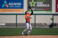 Baltimore Orioles second baseman AJ Graffanino (60) catches a popup during a Minor League Spring Training game against the Detroit Tigers on April 14, 2021 at Joker Marchant Stadium in Lakeland, Florida.  (Mike Janes/Four Seam Images)