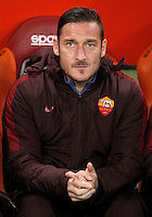 Calcio, Serie A: Roma vs Inter. Roma, stadio Olimpico, 19 marzo 2016.<br /> Roma's Francesco Totti sits on the bench during the Italian Serie A football match between Roma and FC Inter at Rome's Olympic stadium, 19 March 2016. The game ended 1-1.<br /> UPDATE IMAGES PRESS/Isabella Bonotto